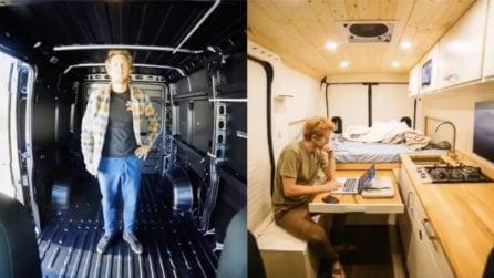 Il suo van diventa una vera e propria casa: la trasformazione è unica