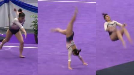La ginnasta prova una difficile capriola ma cade male:terribile l'infortunio che ne segue