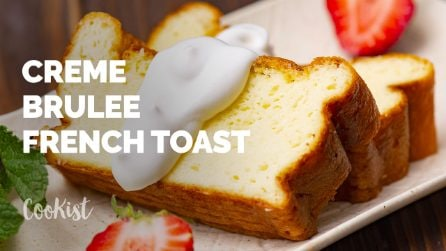 Creme brulee french toast: the result is a delicious puffy french toast with a crunchy crust!