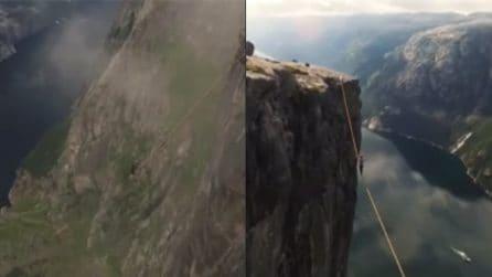 A 1000 metri d'altezza in mezzo ai fiordi: l'esperienza da brividi