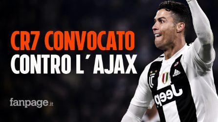 Juventus, Cristiano Ronaldo convocato contro l'Ajax nei quarti di Champions: le scelte di Allegri