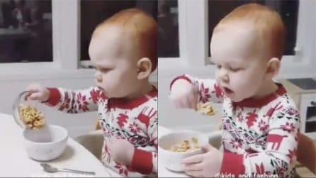È piccolo ma già non sa resistere al cibo: si prepara da solo la colazione