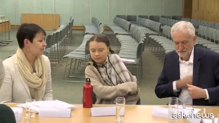 Greta Thunberg a Londra da Jeremy Corbyn e Caroline Lucas