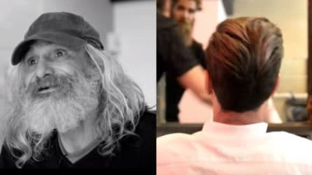 Capelli e barba gratis a un senzatetto: riconoscerlo è quasi impossibile