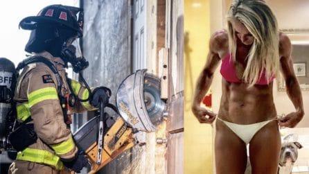 La vigile del fuoco mostra il suo fisico perfetto, scolpito e muscoloso