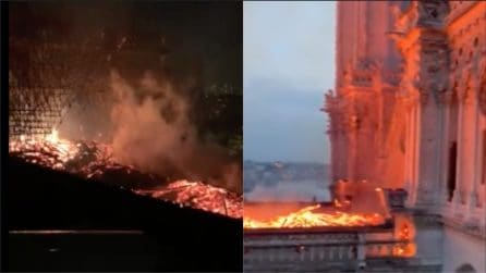 Parigi, l'incendio della cattedrale di Notre Dame: il drone vola tra le fiamme