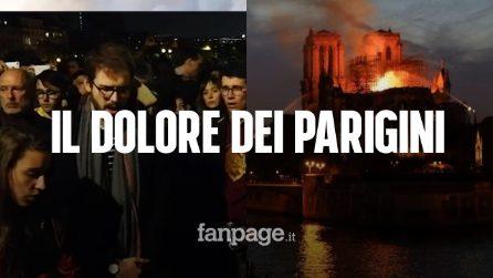 """Incendio cattedrale Notre Dame, il canto di dolore di Parigi: """"Siamo a lutto"""""""