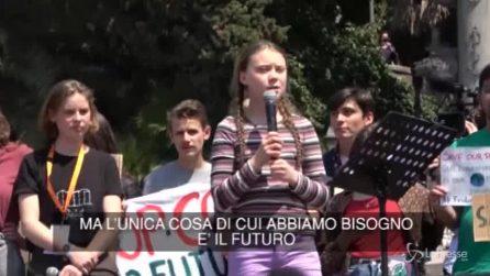 """Roma, Greta Thunberg: """"Dicono che saltiamo le lezioni ma stiamo cambiando il mondo"""""""