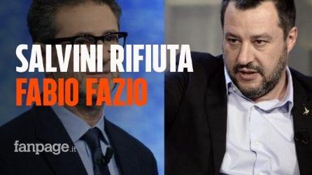 """Salvini rifiuta l'invito a Che tempo che fa. Fazio: """"Dispiace, al di là della sua opinione su di me"""""""