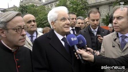 """Mattarella visita Notre Dame: """"Grande amicizia Italia-Francia"""""""