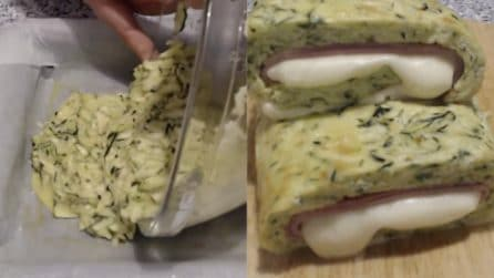 Rotolo di zucchine ripieno e filante: pronto in pochi minuti