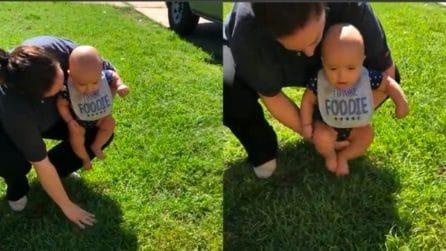 Il bebè tocca l'erba per la prima volta: la sua reazione è tenerissima
