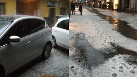 Novara, violento nubifragio colpisce la città: la grandine imbianca le strade