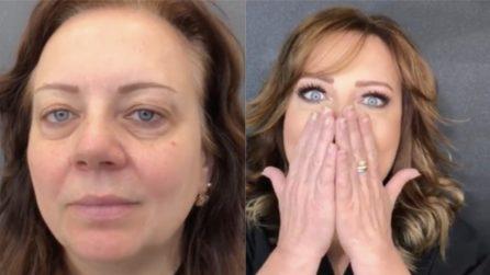 Segni dell'età e occhiaie spariscono: la trasformazione del make up artist