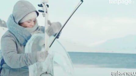 Polo Nord, concerto con strumenti di ghiaccio per salvare gli Oceani