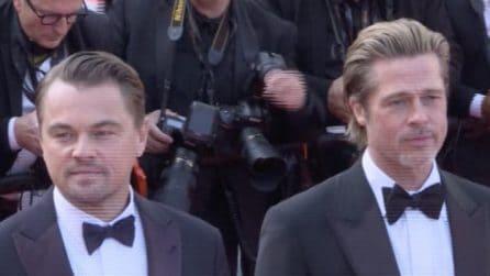 Festival di Cannes, Brad Pitt e Leonardo Di Caprio sul red carpet: i fan in delirio