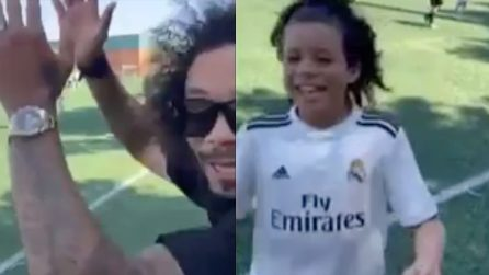 Il figlio di Marcelo fenomenale: segna una tripletta e il papà se la ride di gusto