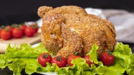 Pollo fritto: il segreto per cucinarlo intero, croccante fuori e morbido dentro!
