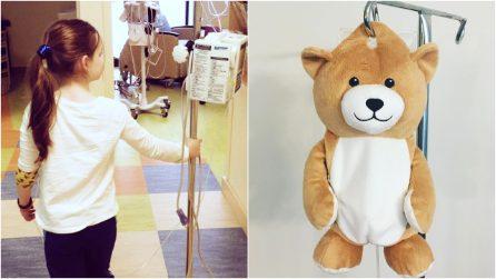 Terrorizzata dalle flebo, bambina inventa un orsetto speciale che dà coraggio ai piccoli pazienti