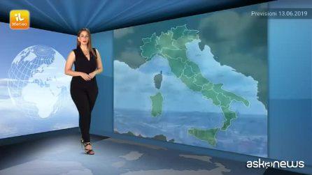 Previsioni meteo per giovedì, 13 giugno