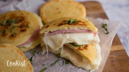 Ham and cheese stuffed arepas: a soft corn cakes you must try!