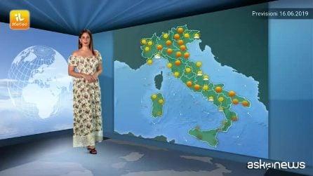 Previsioni meteo per domenica 16 giugno 2019