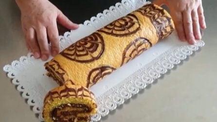 Rotolo di pan di spagna al cioccolato: soffice, goloso e scenografico