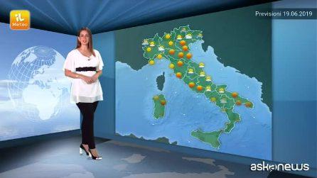 Previsioni meteo per mercoledì, 19 giugno