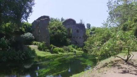 Le splendide immagini del Giardino di Ninfa: scoperta la porta e i resti del ponte della città