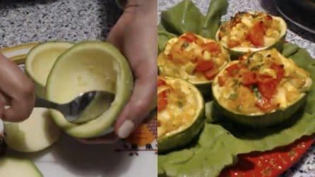 Zucchine tonde ripiene: pronte in pochi minuti e buonissime