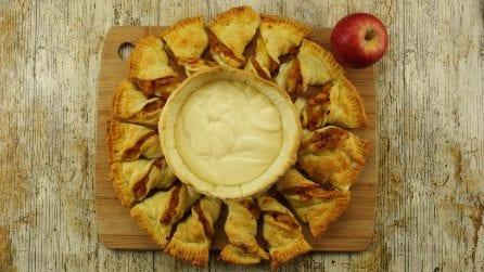 Girasole di pasta sfoglia e mele: ecco come prepararlo con una semplice cannuccia!