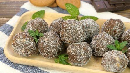 Tartufini menta e cioccolato: pronti in pochi minuti senza cottura!