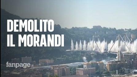 Ponte Morandi Genova, lo slow-motion della demolizione e della esplosione