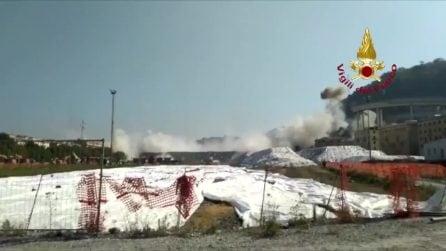 Demolizione Ponte Morandi, le immagini dei Vigili del Fuoco