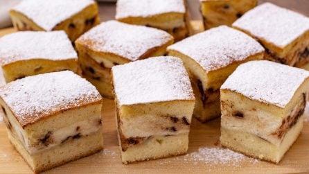Quadrotti morbidi con cuore di ricotta e gocce di cioccolato: un dolce facile e goloso!