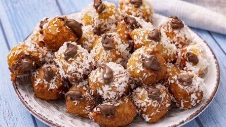 Frittelle soffici al cocco e crema di nocciole: dei bocconcini golosi da provare subito!