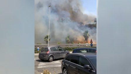 Catania, le immagini del vasto incendio: fumo nero mentre transitano le auto