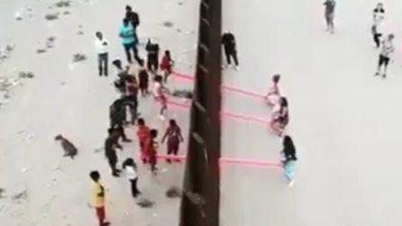 Altalene attraverso il muro che divide Usa e Messico: i bambini giocano insieme
