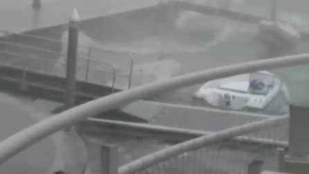 Maltempo a Bergamo, violenta tempesta d'acqua si abbatte sul porto Ponecla di Predore