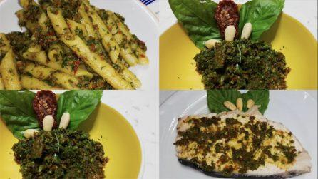 Pesto di basilico, pomodori secchi e mandorle: utilizzalo per condire non solo la pasta