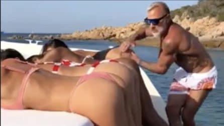 Gianluca Vacchi e il balletto hot in barca: l'imprenditore in compagnia di 4 modelle