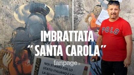"""Avvocato leghista imbratta il murale di """"Santa Carola Rackete"""" di TvBoy: """"Prima gli Italiani"""""""