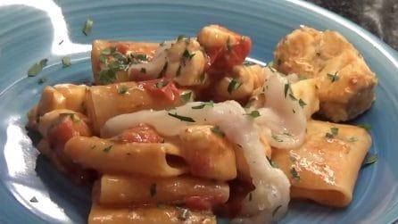 Paccheri con pomodorini e rana pescatrice: un primo piatto delizioso
