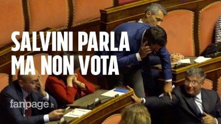 Matteo Salvini show in Senato, ma al momento del voto è assente per parlare in Tv