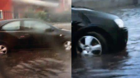 Maltempo ad Aversa, dopo il temporale le strade sono completamente allagate