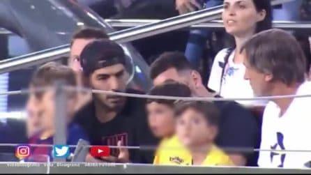 Segnano gli avversari del Barcellona e il figlio di Messi esulta