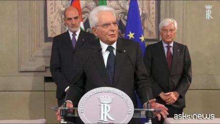 """Governo, Mattarella: """"La parola ora compete a governo e Parlamento"""""""