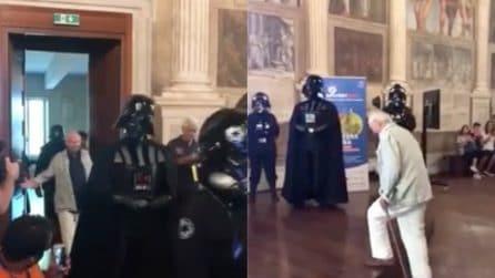 Piero Angela e Darth Vader: l'ingresso al convegno