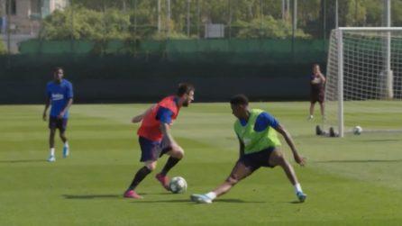 Messi fa il fenomeno in allenamento: slalom e gol spettacolare