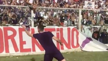 Ribery sotto la Fiesole dopo la partita con la Juve: il gesto è inequivocabile